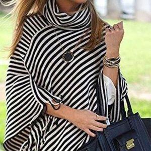 Sweaters - Cowl neck fringe poncho